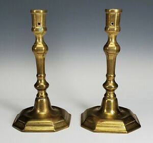 ANTIQUE 17th/18th C. PAIR OF SOLID BRASS CANDLESTICKS