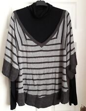 grey striped jumper with black long sleeved polo neck top attached size 18