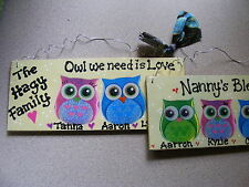 "OWL FAMILY NAME SIGN ~PERSONALIZED:great gift -2-6 PEOPLE 3X7""CUTE !"