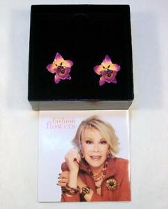 Signed JOAN RIVERS Fashion Flowers ORCHID Pink Purple Enamel Clip Earrings