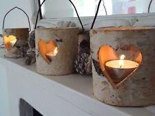 Rustic Birch Bark Tea Light Holder Lantern, Heart Detail (£5.95 for ONE)
