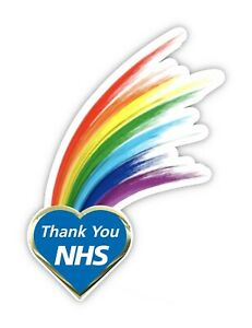 NHS Heart Rainbow Window - Wall Sticker Thank You NHS Car Shop Home Decal Laptop