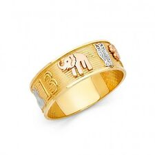 14K Tri color Solid Gold Lucky Elephant Ring Band