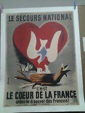 AFFICHE ANCIENNE GUERRE 1939/45 SECOURS NATIONAL COEUR DE LA FRANCE JEAN COLIN