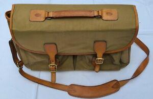 Hartmann Overnighter/Briefcase Bag Khaki Nylon & Leather Handle