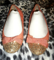$70 VINCE CAMUTO Pink Leather Gold Glitter Toe Slip-On Bow Tie Ballet Flats 10