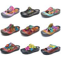 SOCOFY Women Summer Bohemian Genuine Leather Sandals Adjustable Hook Loop Shoes