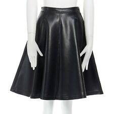 TRICOT COMME DES GARCONS black faux leather pleather flared skirt S 25""