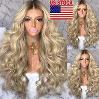 Hot Women Blonde Long Curly Wig Synthetic Wavy Natural Hair Heat Resistant Wigs
