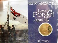 .2010 ANZAC DAY $1 UNC COIN PACK, UNOPENED IN PLASTIC SLEEVE.