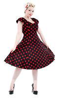 Elegant Retro Vtg 1950's Style Red Polka Dot Shawl Collar Rockabilly Dress 8-18