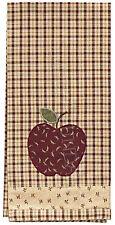 Apple Jack Decorative Dishtowel by Park Designs, Wine and Tan Appliquéd , 447-19