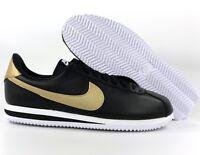 Nike Cortez Basic Leather SE Black Metallic Gold White 884412-001 Mens 10.5-11.5