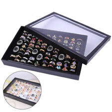 100 Slots Ring Display Case Organizer Jewelry Storage Box Tray Holder With Lid