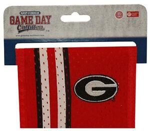Georgia Bulldogs Wallet Mens Red Mesh Bi-fold Wallet Oval G Logo