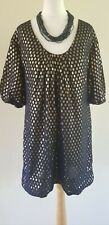 French Connection navy blue gold spot silk tunic/dress uk 8 party evening