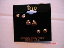 3 PAIRS OF TRIO PIERCED EARRINGS, RHINESTONE, GOLD BALL AND SOLID HEART, POST,