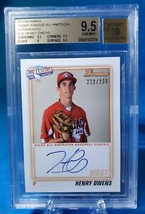 2014 Bowman Henry Owens Under Armor All American 222/235 BGS 9.5 / 10 AUTO RC
