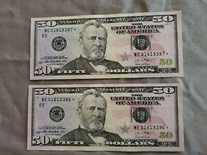 2 Consecutive 2013 STAR NOTES. $50 Bills. 01619396*/01619397* CRISP BILLS