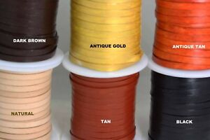 Flat Leather cord 5MM - Genuine  Cord- Lace - Black -Tan -Natural -Brown-Ant Tan