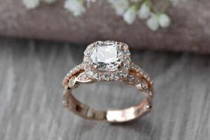 2 CT Cushion Cut Engagement Wedding Ring Set 14K Rose Gold Over Antique Women