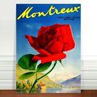 "Vintage Swiss Poster Art ~ CANVAS PRINT 24x18"" Switzerland Montreux Rose"