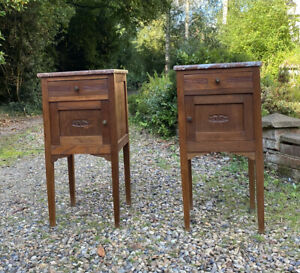 Antique Pair Of French Oak Wood Bedside Cupboards Cabinets