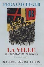 """""""FERNAND LEGER : LA VILLE"""" Affiche originale entoilée Litho MOURLOT 1959"""