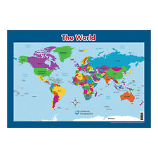 """World Map for Kids (18"""" x 26"""" Laminated) by American Geographics"""