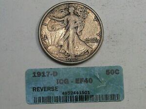 XF 1917-d Rev. Walking LIBERTY Half Dollar - Crack-out ICG Holder.  #6