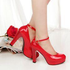 Women Wedges Wedding High Heels Platform Pumps Shoes Work OL Lady Leather Shoes