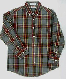Boys Izod $36 Gray/Burgundy Plaid Long Sleeve Button Down Shirt Sizes 8 - 18/20
