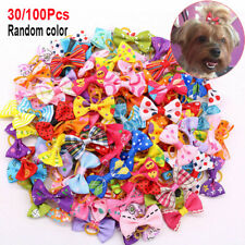 More details for 30/100x pet dog cat hair bows pearl flower rubber band puppy headdress accessory