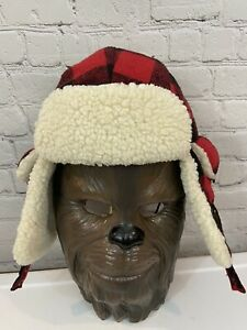 WOOLRICH RED BLACK PLAID Buffalo Check WOOL TROOPER HAT TRAPPER BOMBER Mens M