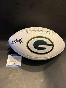 Autographed/Signed DAVANTE ADAMS Green Bay Packers Logo Football Beckett WITNESS