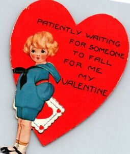 Vintage DieCut Valentine Greeting Card Girl Patiently Waiting for Her Valentine