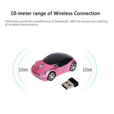 Pink 2.4GHz Wireless Car Optical Mouse + USB receiver for Laptop Computer PC