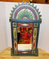 Hand-Carved/Hand-Painted 'Shabby-Chic' Wall Mounted Cabinet w/Mirrored Door