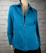 Harry Potter Jacket Zip Front Stretch Cotton Blend Pockets Aqua Blue Green Sz L