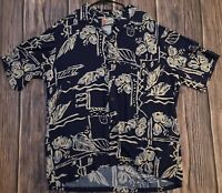 Hilo Hattie Blue & White Floral Hawaiian Shirt Mens Large