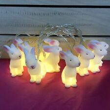 10 White Bunny Lights Battery Operated Rabbit Decoration Gisela Graham Bedroom
