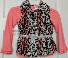 Little Lass Girls 6 NWT Pink Leopard Faux Fur Sequin Sparkle Shirt Vest 2pc Set