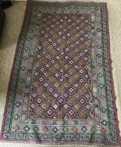 """Handcrafted embroidery stitch Wool Tapestry rug geometric design 68""""x41"""""""