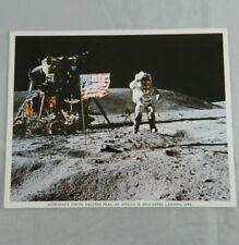 70's NASA Photo Astronaut Young Salutes Flag At Apollo 16 Descartes landing site