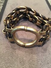 New Fossil Brand Chunky Gold Large Link & Leather Bracelet Fantastic piece !