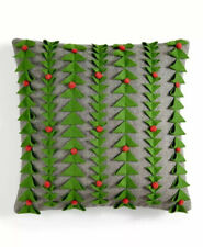 Holiday Lane 3d Felt Decorative Pillow Gray Green Red Christmas Tree 18� x 18�