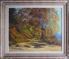Tableau Paysage chemin sous les arbres signé de Marie Martin (1975) + cadre