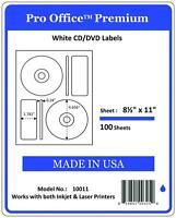 PO11 200 CD/DVD Labels Matte Memorex Core Compatible Full Face Laser InkJet