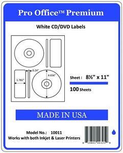 200 CD/DVD Labels Matte Memorex Core Compatible Full Face Laser Inkjet