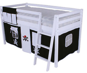 Cabin Bed Bunk Mid Sleeper Ladder  New Pine 3ft Single Boys Pirate Wooden White